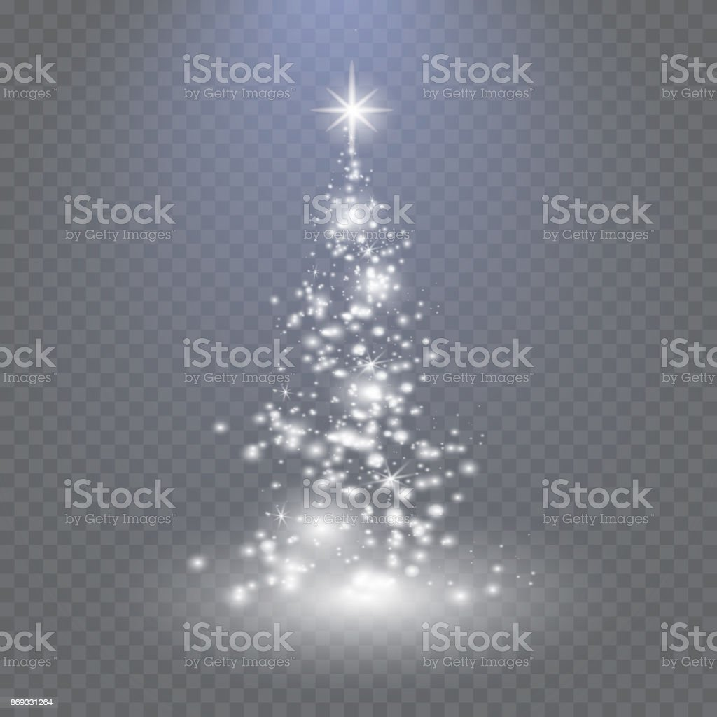 Silver Christmas tree on transparent background vector art illustration
