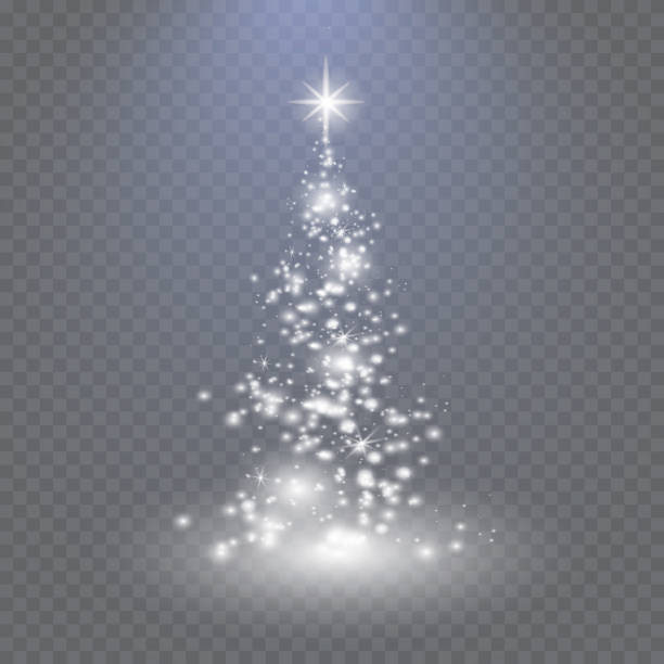 silver christmas tree on transparent background - light through trees stock illustrations