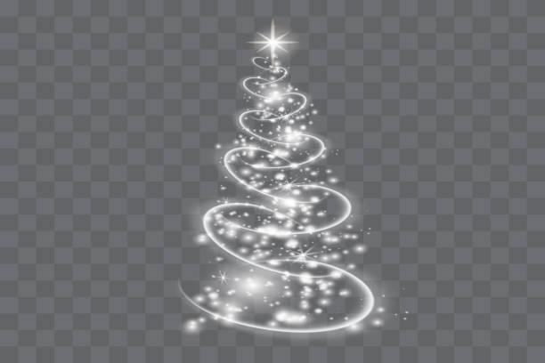 Silver Christmas tree on transparent background.Christmas abstract pattern. Silver Christmas tree on transparent background.Christmas abstract pattern. light through trees stock illustrations