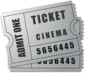 Silver cinema ticket icon isolated on white background. Vector Illustration