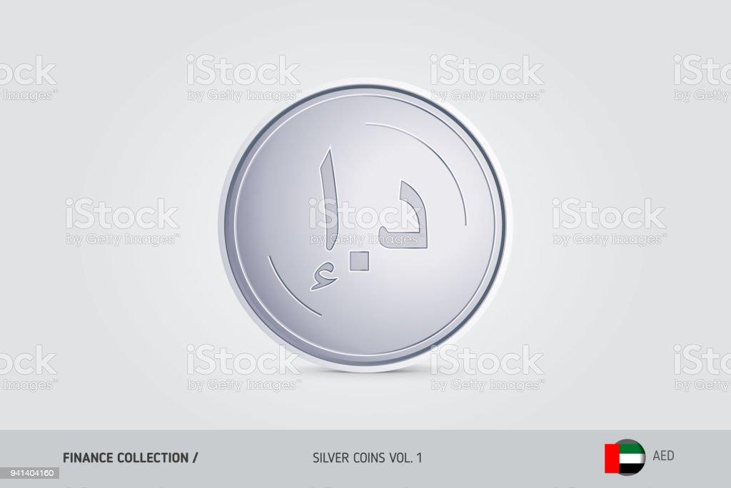 Silver Coin Realistic Silver United Arab Emirates Dirham Coin