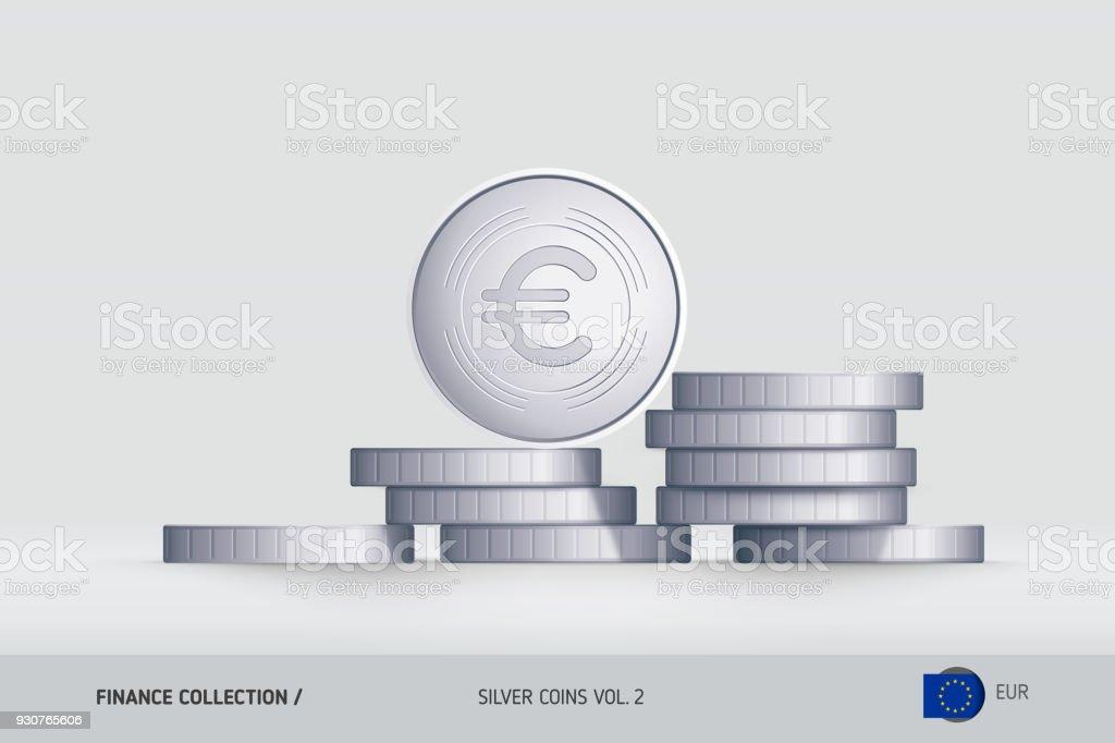 Silbermünzen Realistischeuromünze Auf Gestapelten Münzen Stehen