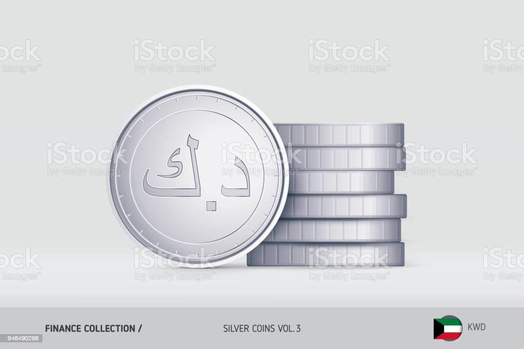 Silver coins realistic kuwaiti dinar coin standing near of stacked silver coins realistic kuwaiti dinar coin standing near of stacked coins finance concept for m4hsunfo
