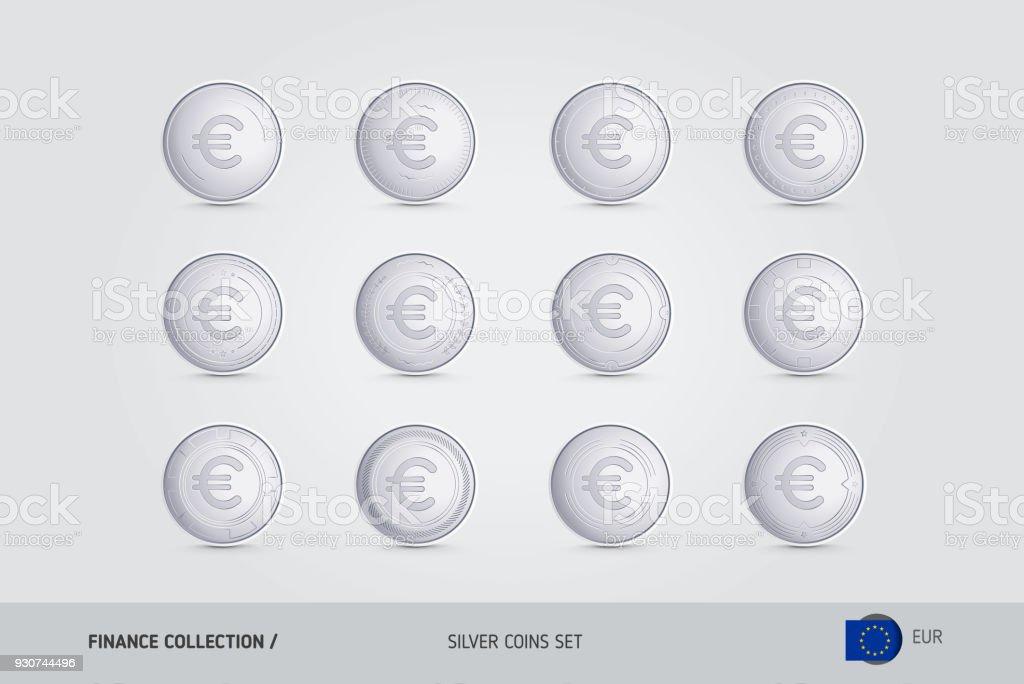 Silbermünzen Realistische Silber Euro Münzen Satz Isolierte Objekte
