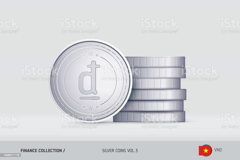 Silbermünzen Realistische Vietnamesischer Dongmünze Stand In Der