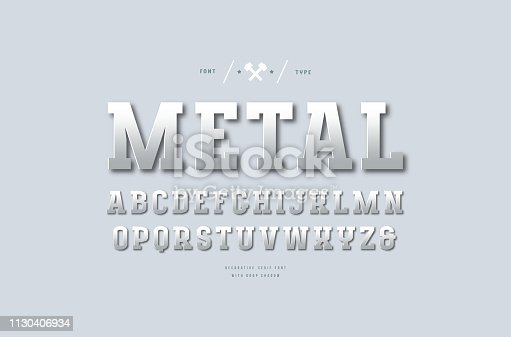 Stock vector silver colored and metal chrome slab serif font. Letters for sport emblem and headline design. Color print on light gray background