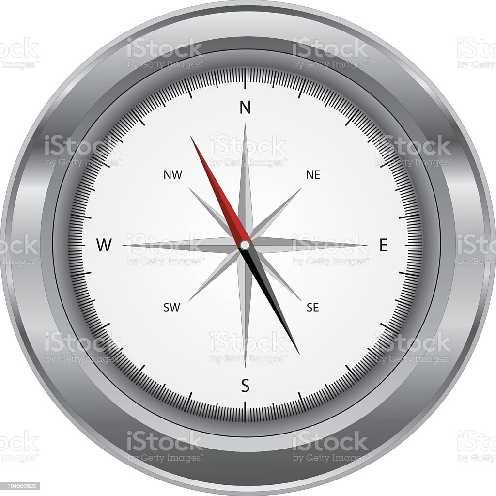 Silver Compass vector art illustration