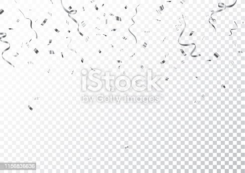 Vector Illustration of Silver confetti isolated on transparent background  eps10