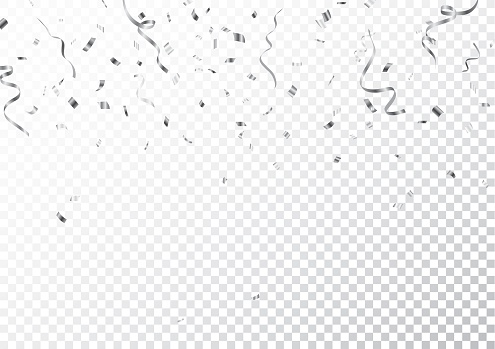 Silver confetti isolated on transparent background