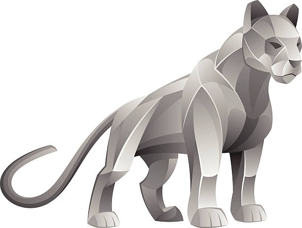 Silver cougar vector art illustration