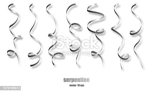 Silver curly ribbon serpentine confetti. Silver streamers set on transparent background. Colorful design decoration party, holiday event, carnival, Christmas, New Year greeting. Vector illustration
