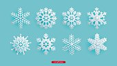 A set of silver decorative beaded snowflakes. New Year and Christmas decorations for the festive design, isolated objects, vector illustration