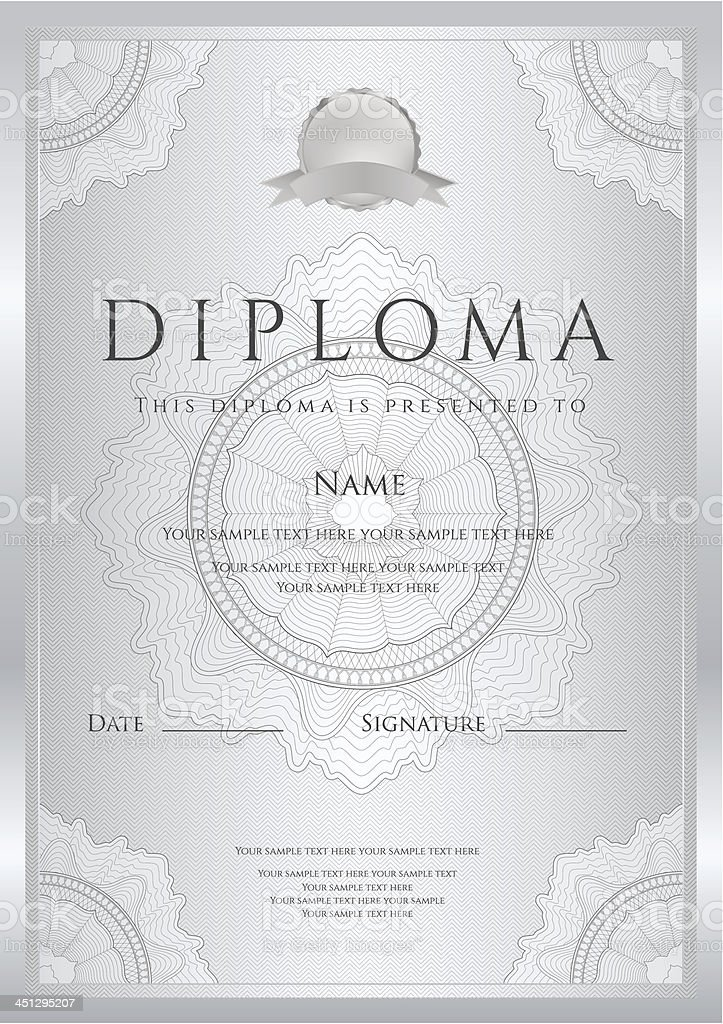 Silver diploma certificate template background design with silver diploma certificate template background design with guilloche pattern border royalty free yelopaper Choice Image