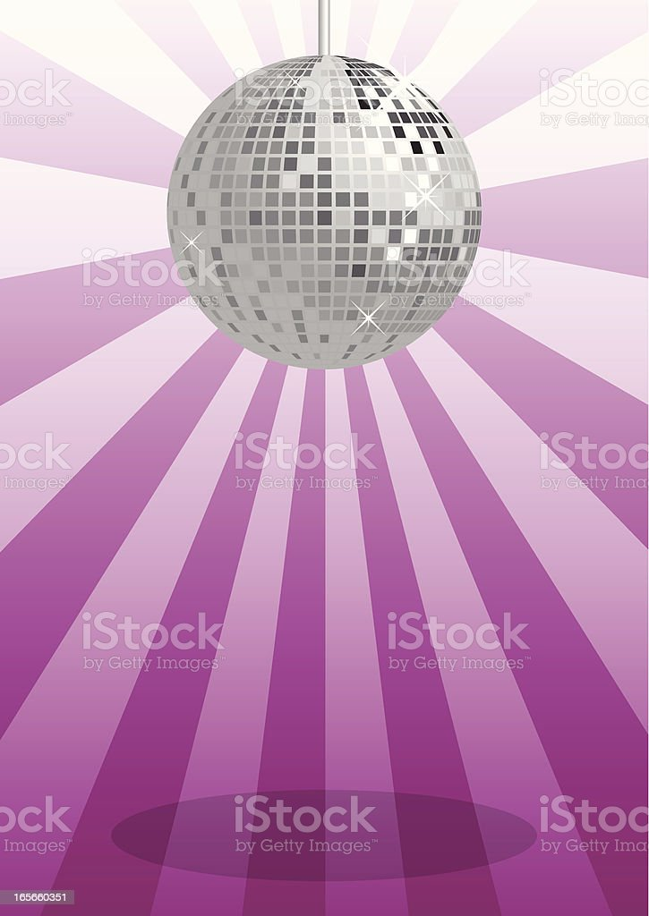a silver disco ball on a purple background stock vector