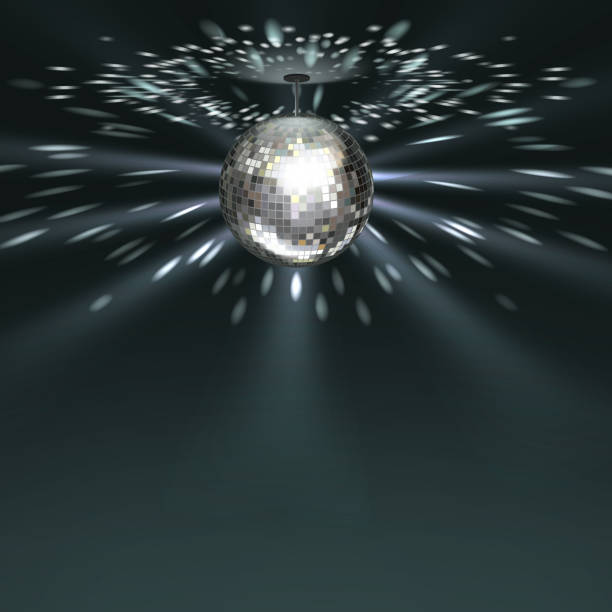 Silver disco ball Vector silver disco ball with glowing on dark background disco ball stock illustrations