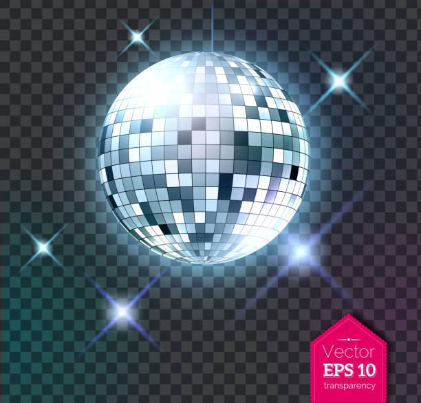 bildbanksillustrationer, clip art samt tecknat material och ikoner med silver disco kula med ljus - dansa disco