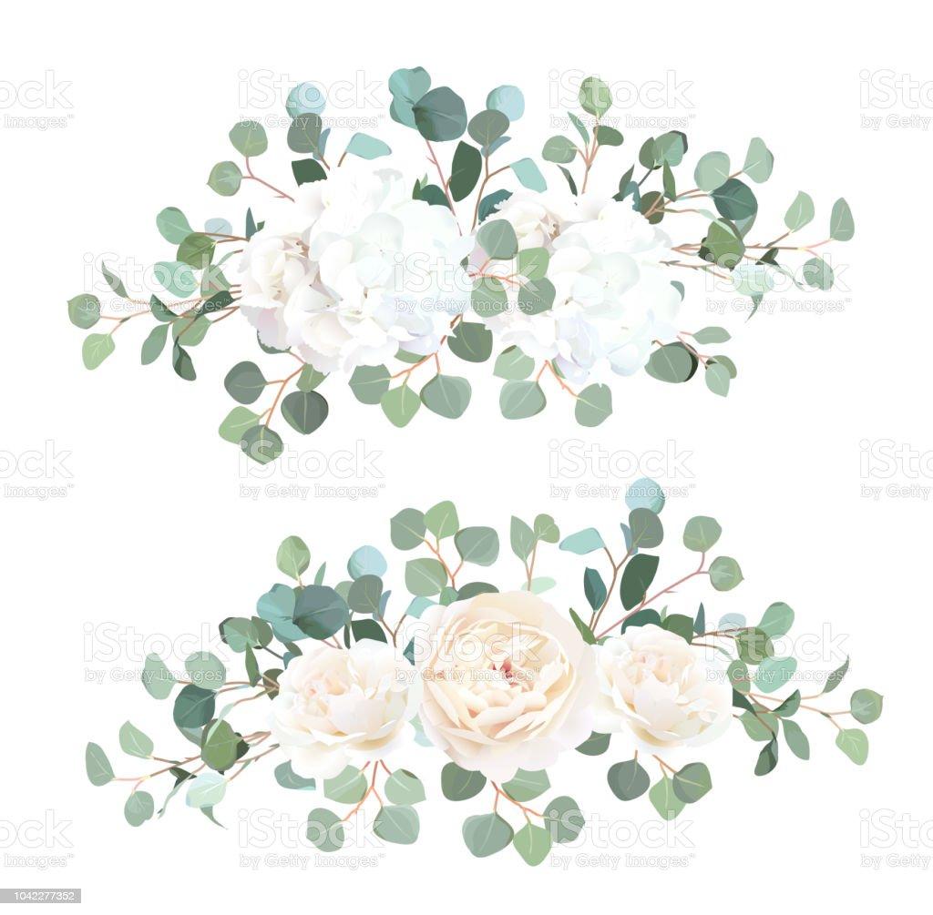 Silver Dollar Eucalyptus White Rose And Hydrangea Vector