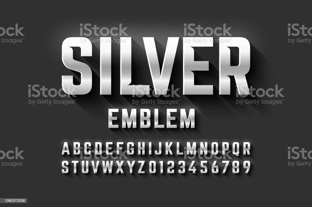 シルバーのエンブレム風のフォント ロイヤリティフリーシルバーのエンブレム風のフォント - 3dのベクターアート素材や画像を多数ご用意