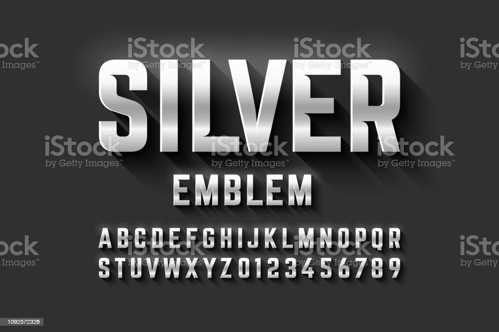 Silver emblem style font royalty-free silver emblem style font stock illustration - download image now