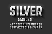Silver emblem style font, metallic alphabet letters and numbers vector illustration