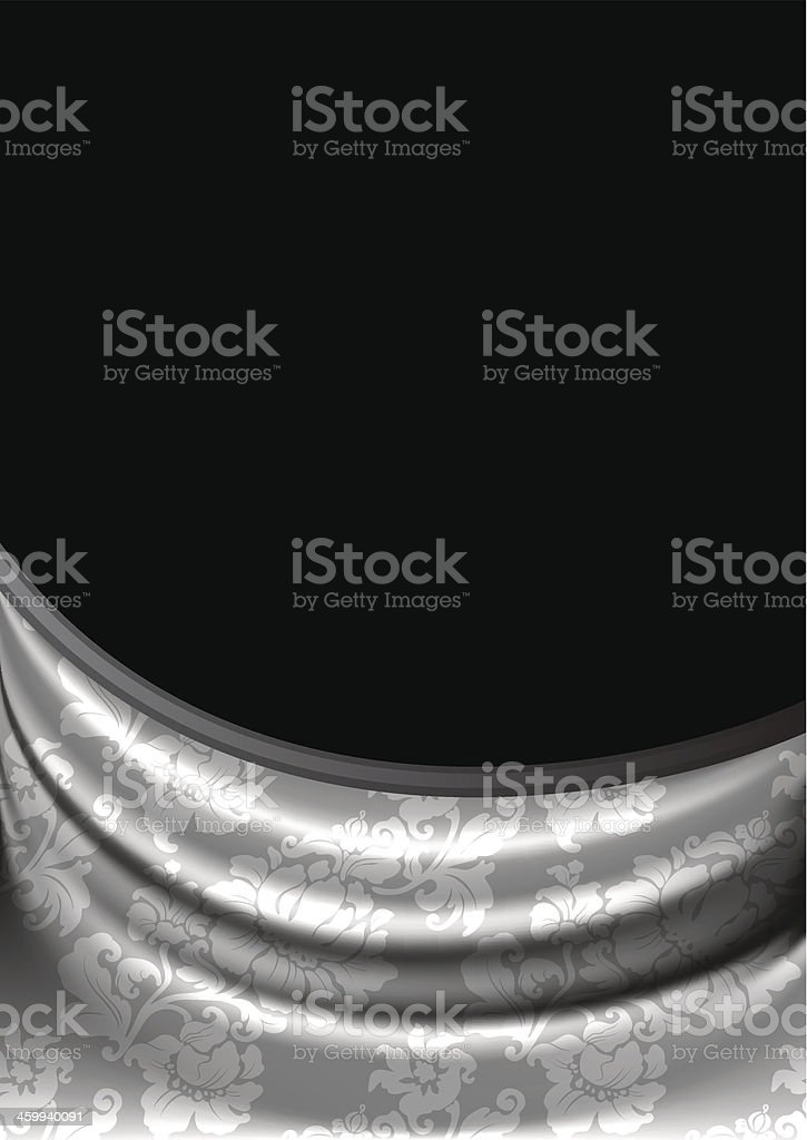 Silver fabric curtain on black background