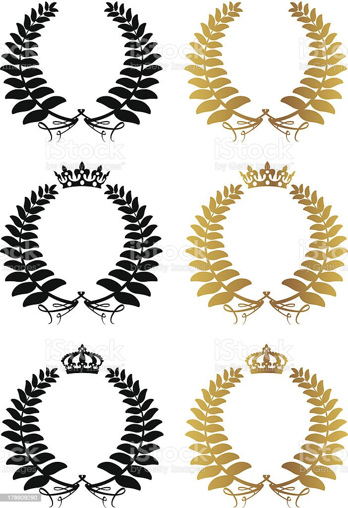 Silver Fern Laurel Wreaths With Crowns royalty-free stock vector art