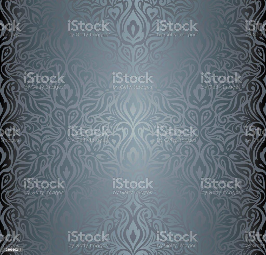 Silver Floral Decorative Vintage Wallpaper Background Stock