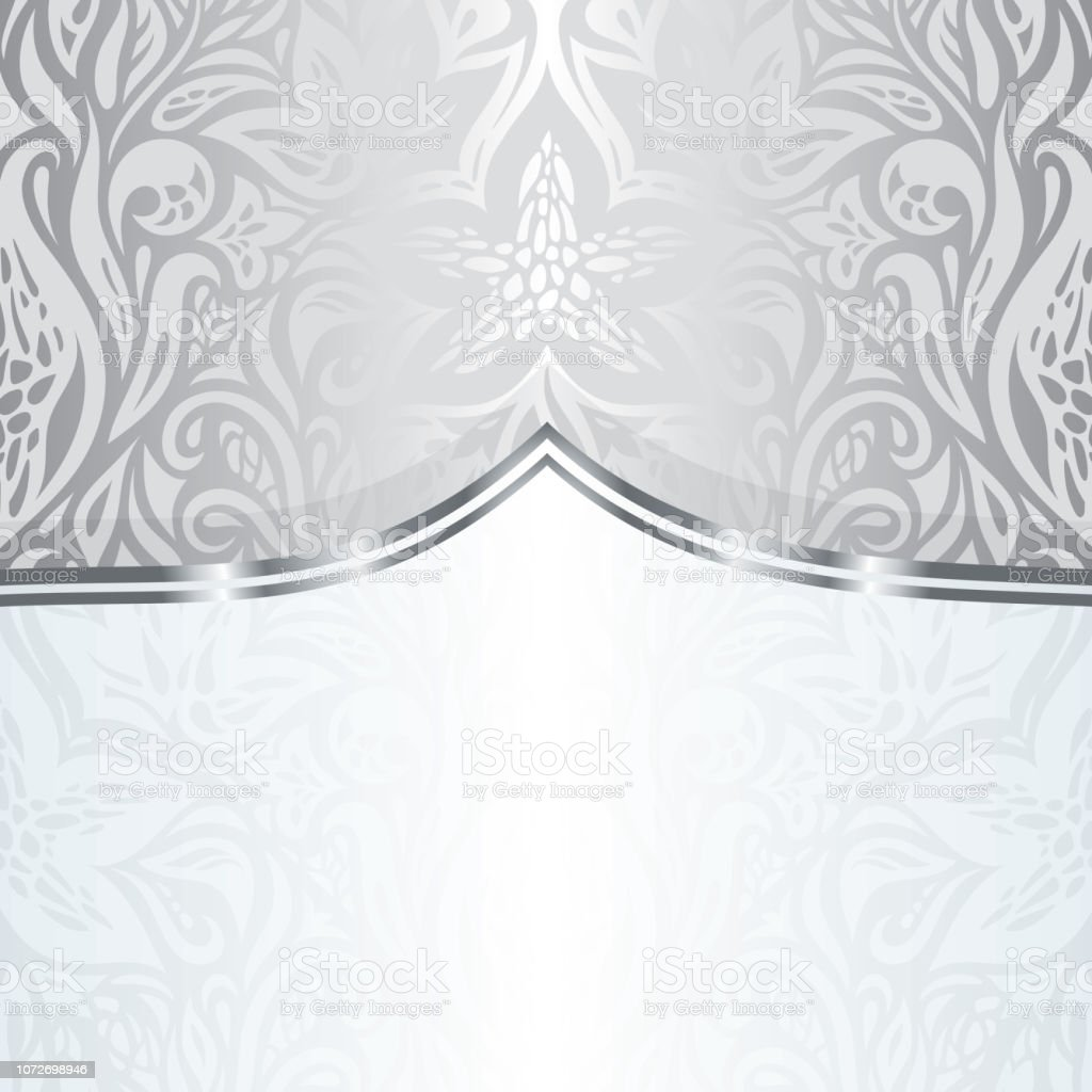 Silver Floral Vintage Pattern Wallpaper Background Stock