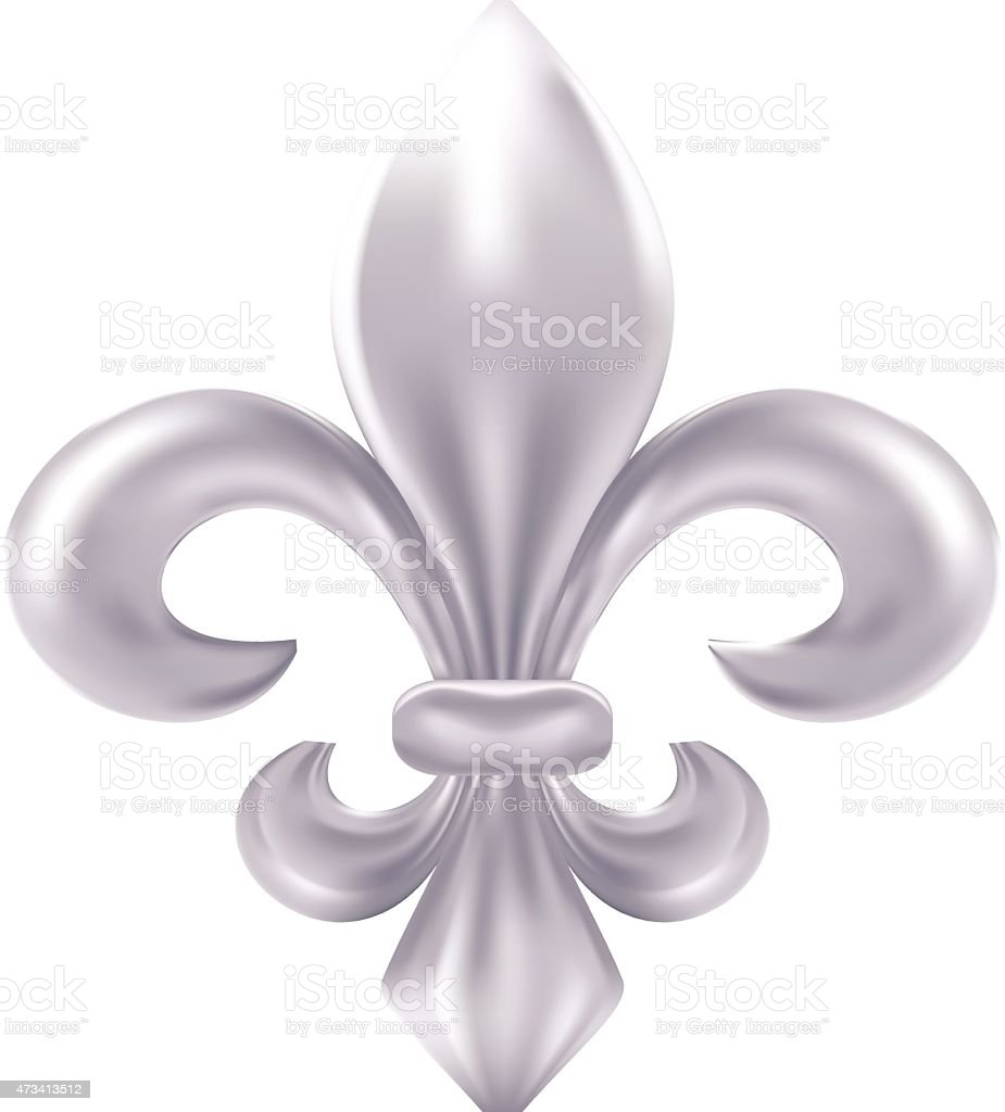 Silver fleur-de-lis decorative design vector art illustration