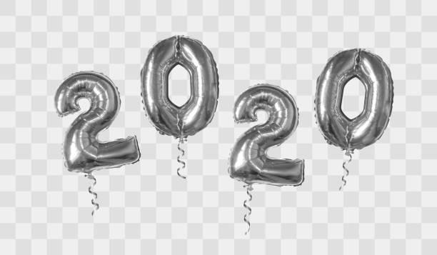 Silver foil balloons number 2020 vector art illustration