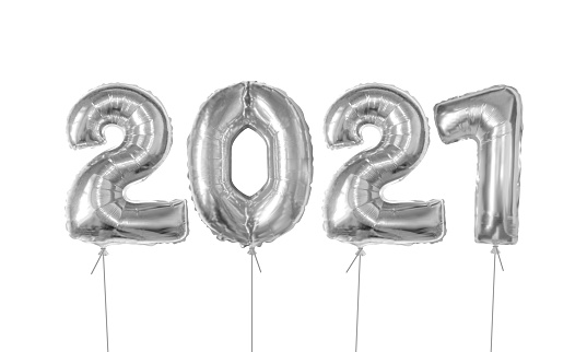 Silver foil balloons number 2021