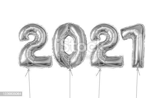 istock Silver foil balloons number 2021 1226835064