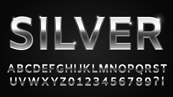 Silver font style. Metallic alphabet, numbers, question and exclamation marks. Shinning abc latin letter