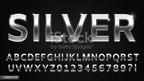 Silver font style. Metallic alphabet, numbers, question and exclamation marks. Shinning latin letter isolated on dark background, English abc with glowing effect vector illustration