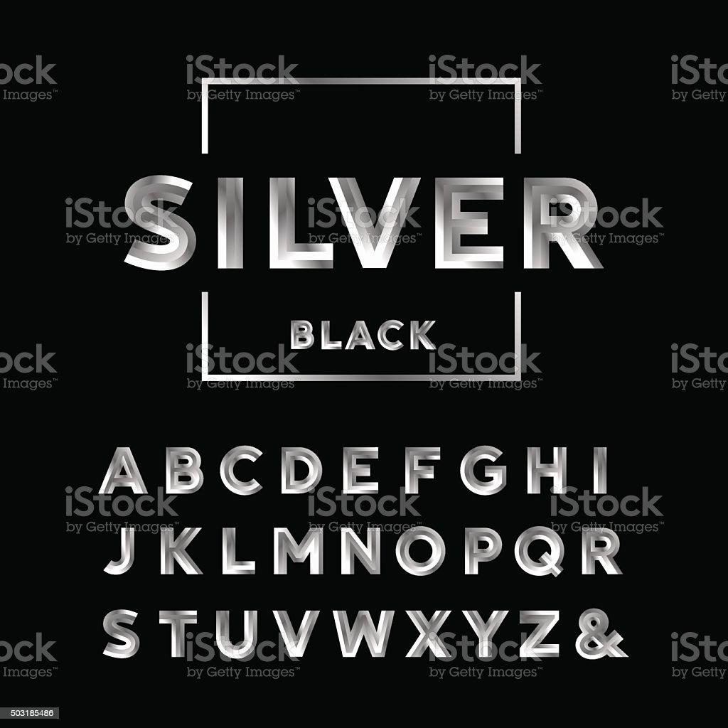 Silver Effect Letters Alphabet: Silver Font Vector Alphabet With Chrome Effect Letters