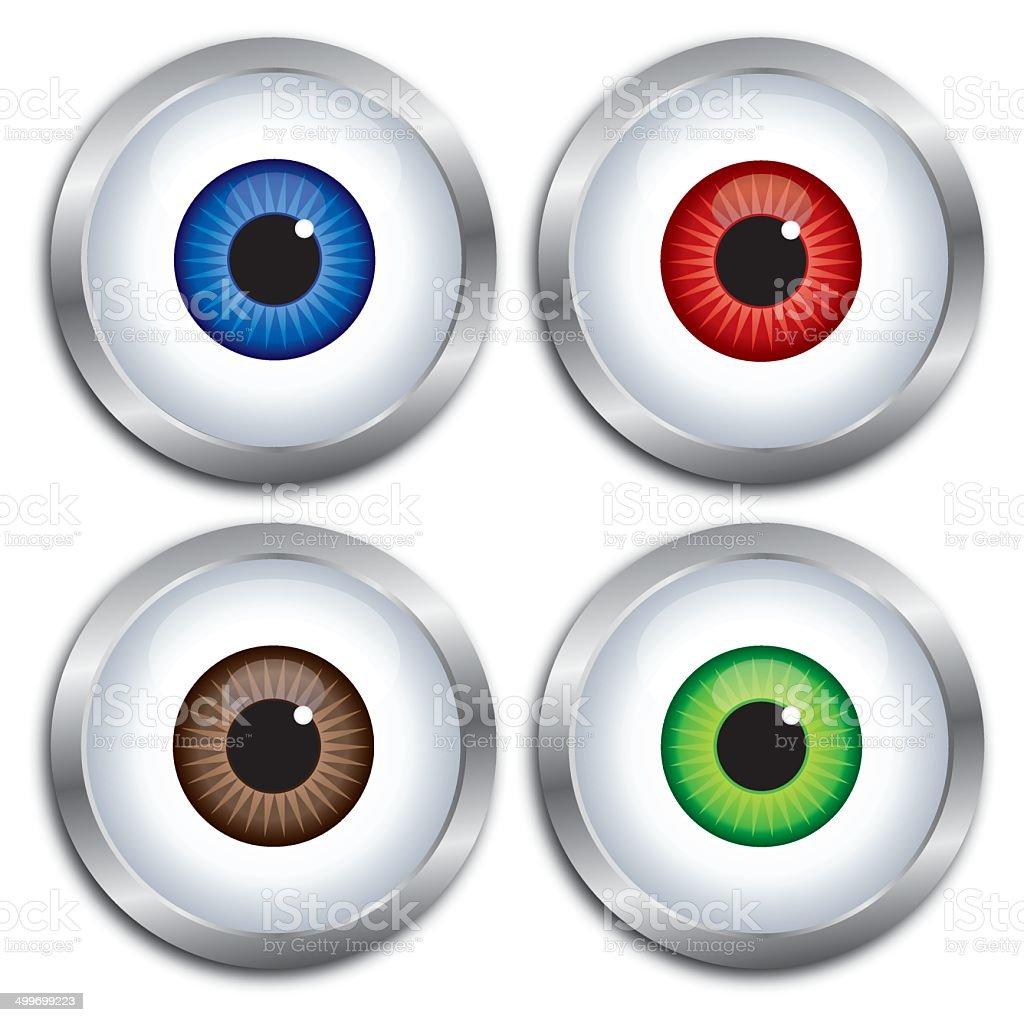 Silver Frame Eyeballs vector art illustration