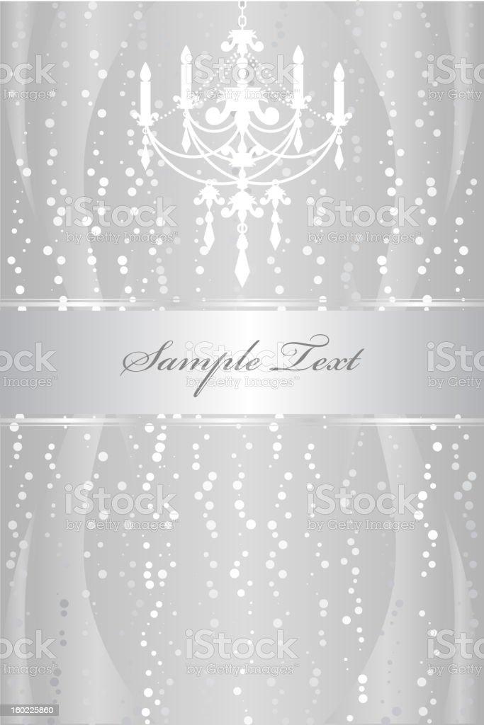 Silver frame with chandelier vector art illustration