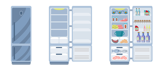 Silver fridge is isolated on a white background. Closed and open empty refrigerator. Drawing a refrigerator with food or an empty shelf. Vector illustration in flat style.