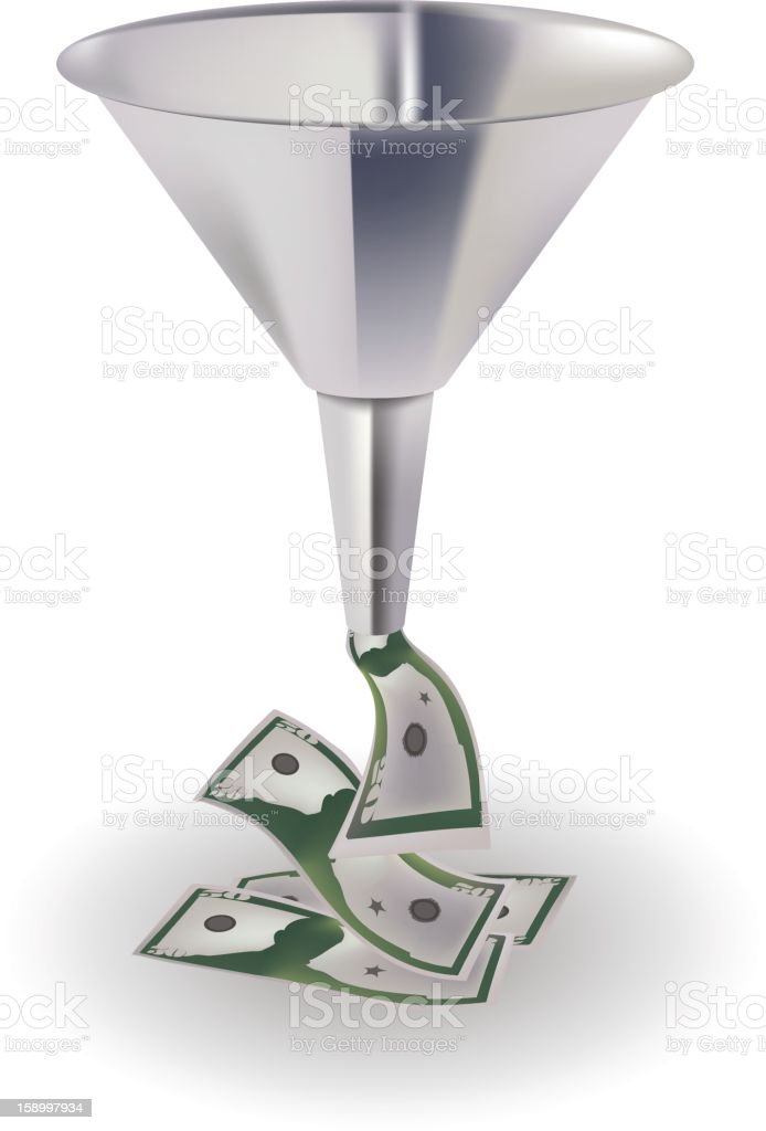 A silver funnel with green bank notes falling out the bottom vector art illustration