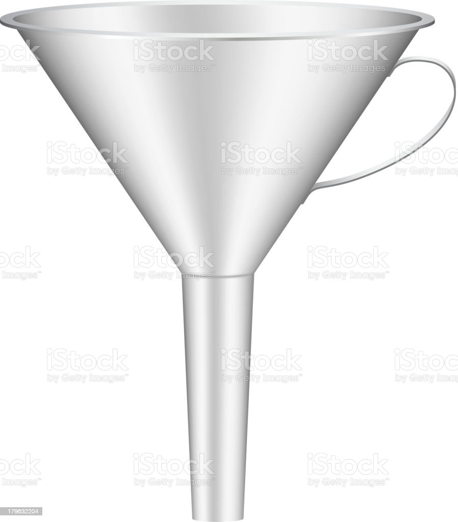 Silver funnel with thin handle royalty-free silver funnel with thin handle stock vector art & more images of cargo container