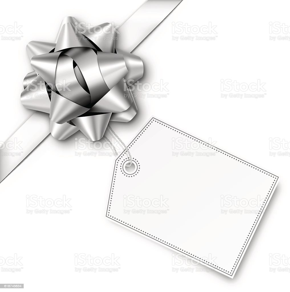 Silver Gift Bow with Ribbon and Tag vector art illustration