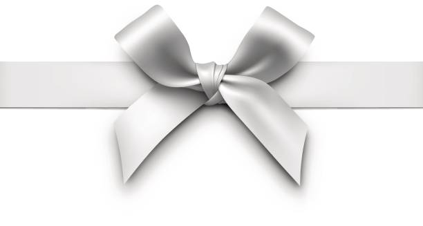 Silver Gift Bow with Ribbon vector art illustration