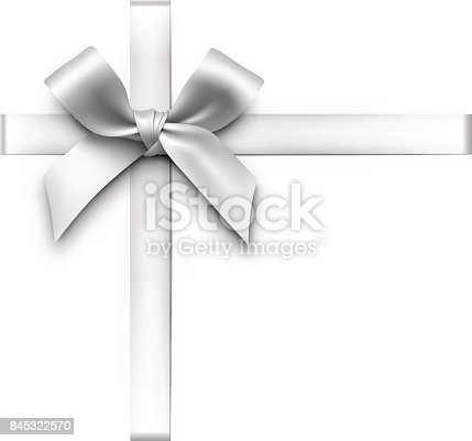 Vector illustration of a silver gift bow with ribbons.