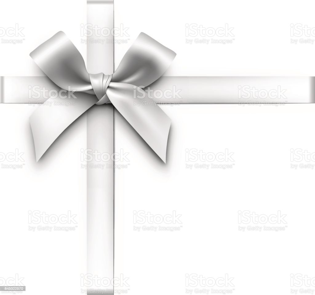 Silver Gift Bow with Ribbons vector art illustration