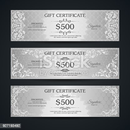 Silver Gift Certificate Banners Set Vip Vintage Ornamental Template