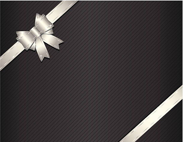 Silver gift ribbon with package paper vector art illustration