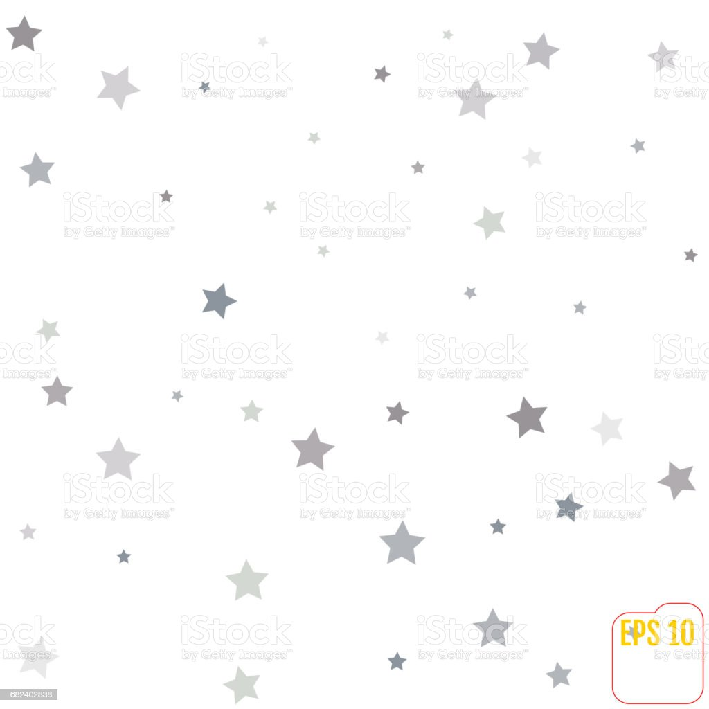Silver glitter falling stars. Silver sparkle star on white background. Vector template for New year, Christmas, birthday, party, wedding, card, invitation, flyer, voucher, web, header. Star confetti. royalty-free silver glitter falling stars silver sparkle star on white background vector template for new year christmas birthday party wedding card invitation flyer voucher web header star confetti stock vector art & more images of anniversary