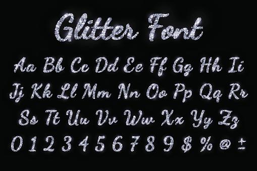 Silver glitter font on black background. Vector illustration