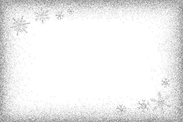 silver glitter frame and glitter snowflakes. - виньетка stock illustrations