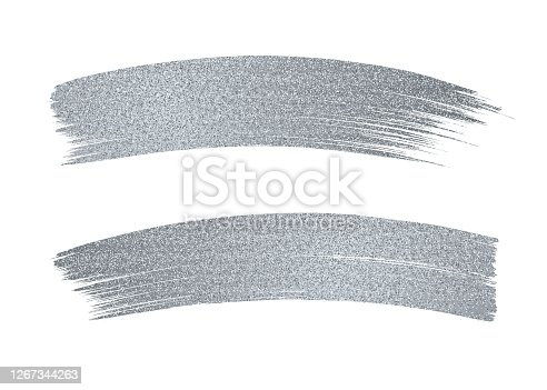 Silver Glitter Paint Brush Stroke on White Background. Stock illustration